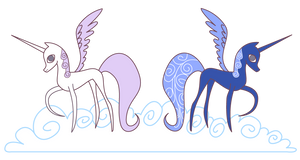 My Little Pony Alicorn Celestia and Luna by JuliefooDesigns