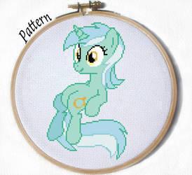 Sitting Lyra cross stitch pattern by JuliefooDesigns