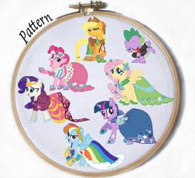 Gala My Little Pony Mane 6 Cross stitch patterns by JuliefooDesigns