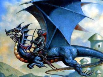 blue dragon in sky by ipodmaniac