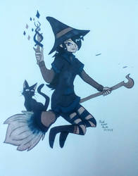 Copic Colors October: Broomstick Ride by RedVioletPanda