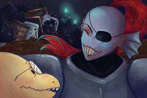 Alpyhys and Undyne by KonaEldeen