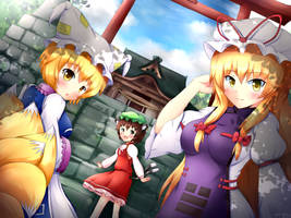 Touhou Yakumo Family - Let's Visit Hakurei shrine by KANE-NEKO