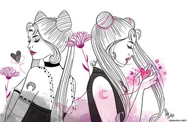 Sailor moon fan art - Black Lady and Sailor Moon by alessandraloreti
