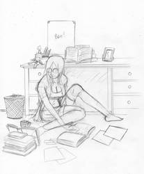 Studying hard pencil by mattwilson83