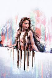 She Stood Along the Wall Digital Woman Painting by studiomuku