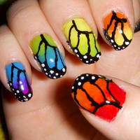 Rainbow Butterfly Nail Art by quixii