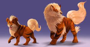 Pokemon - Growlithe line by ArtKitt-Creations