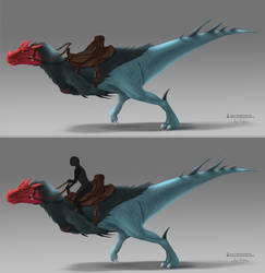 Gulid Wars 2 fan concept - Theropod Dinosaur Mount by ArtKitt-Creations