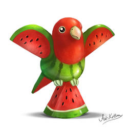 creature doodle #13 watermelon parrot by ArtKitt-Creations