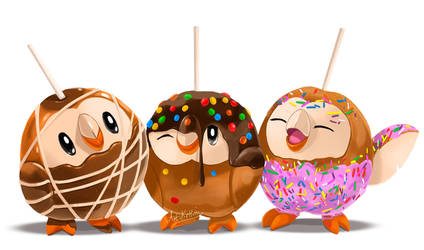 Pokectober - Caramel Apple Rowlets by ArtKitt-Creations