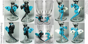 Wedding Flutes Dragons by lizzarddesigns