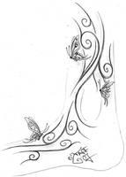 Tribal Butterflies Feet Design by 2Face-Tattoo