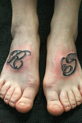 Letter chicano Style R S by 2Face-Tattoo