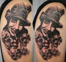Marilyn Manson Portrait Tattoo by 2Face-Tattoo