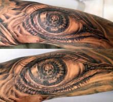 Big Eye Skull look Tattoo by 2Face-Tattoo