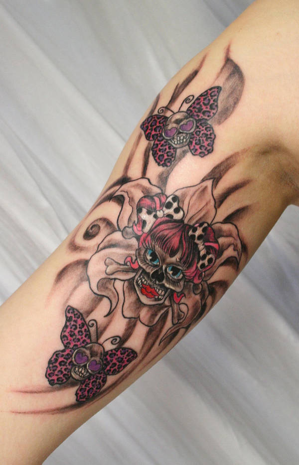 Flower Girly Skulls Butterfly By 2face Tattoo On Deviantart