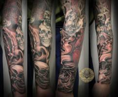 Heart Skull Armsleeve prog.12 by 2Face-Tattoo