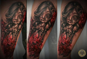 Psycho doll bloody flowers tat by 2Face-Tattoo
