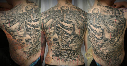 Back Skull gun demon face by 2Face-Tattoo