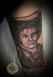Portrait of grandma finished by 2Face-Tattoo
