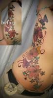 rework flowers butterflies fin by 2Face-Tattoo
