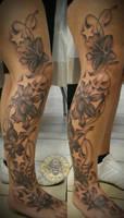 Lilies stars wine tat by 2Face-Tattoo