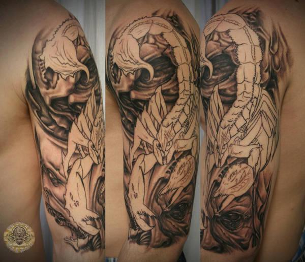 Skull Faces Scorpion Tat Prog By 2face Tattoo On Deviantart