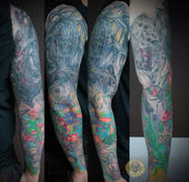 Freaky Insect Flower Dead armsleeve healed by 2Face-Tattoo
