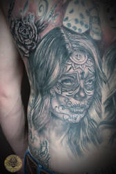 Santa Muerte part back by 2Face-Tattoo
