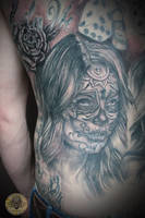 Santa Muerte part back by 2Face-Tattoo