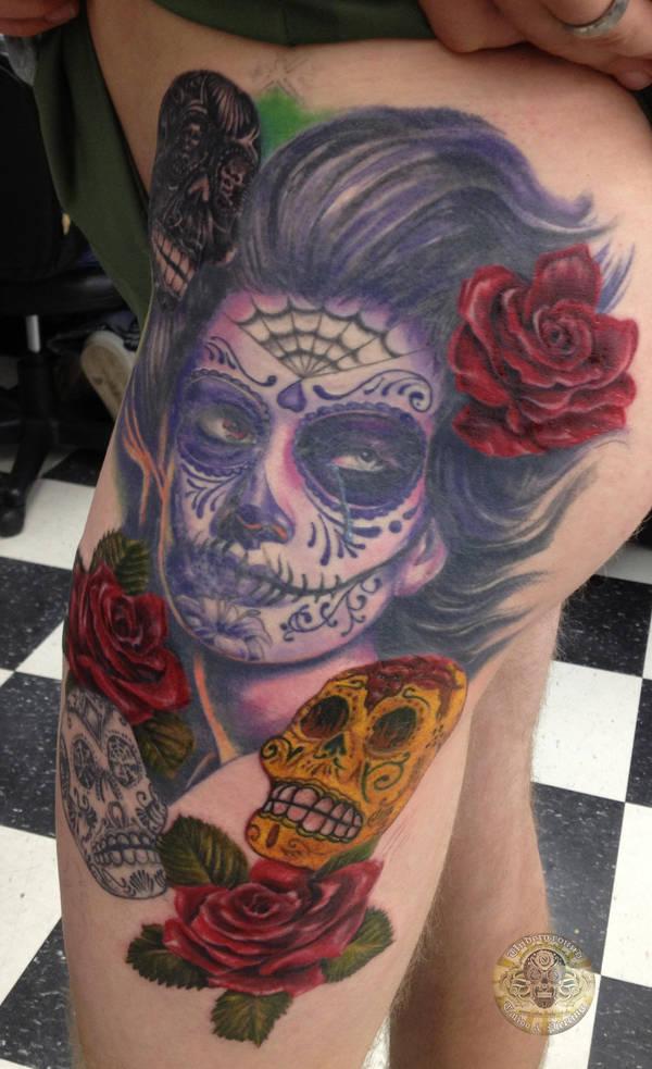 La Catrina Dia de los muertos prog tat 3th session by 2Face-Tattoo