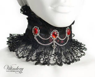 Wine Red Victorian Choker by vilindery
