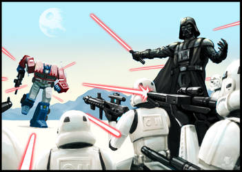 Optimus vs Vader by EvilPirate