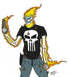 Vengence and punishment (punisher as ghost rider) by AFlahrman