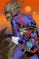 Groot and Rocket by davidjcutler