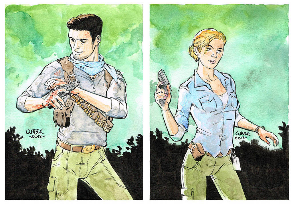 Nathan and Elena - Uncharted commission by davidjcutler