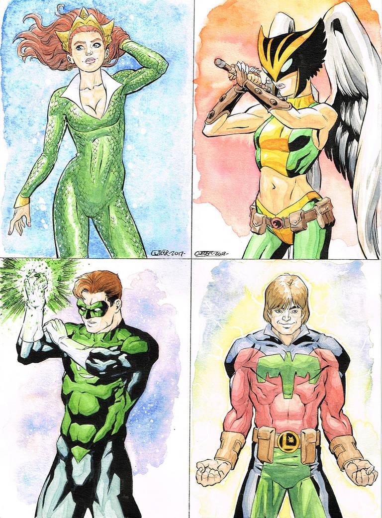 DC Heroes Watercolors by davidjcutler