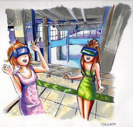 Sayori and Monika enjoy VR at the Palais de Tokyo by gaucelm
