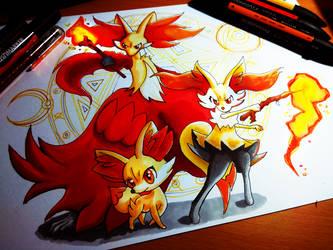 Fire Fox Family by KimikoGlaciem