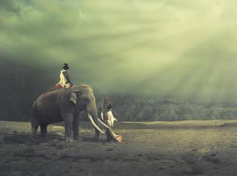 Elephant and geisha by LaMusaTriste