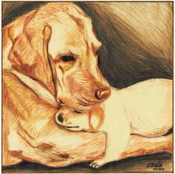 Dog and a puppy by cberdin-art