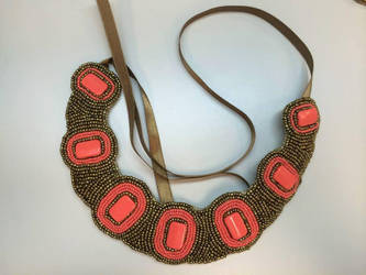 Coral and Gold Bib Necklace by YasminGZ