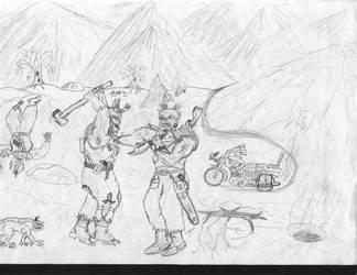 Ork`s bikers... simple dieselpunk illustration by IvanSV