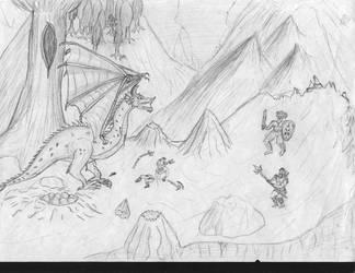 Orks vs Dragon by IvanSV