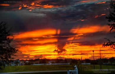 Vibrant Orange Rays Sunset HDR by eanimusic