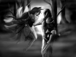 Ahri Zed grayscale by YayaErshin