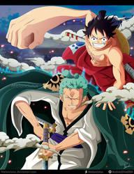 One Piece -Fanart - Luffy y Zoro (Wano) by Melonciutus