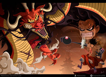 One Piece - FanArt - Monkey D. Luffy vs Kaido by Melonciutus