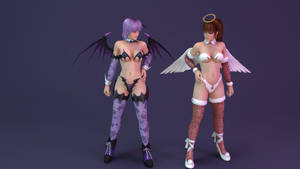Ayane and Kasumi Halloween by derkahead